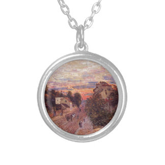 Sunset at Port Marly by Alfred Sisley Silver Plated Necklace