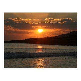 Sunset at Praia Da Luz Beach, Algarve, Portugal Postcard
