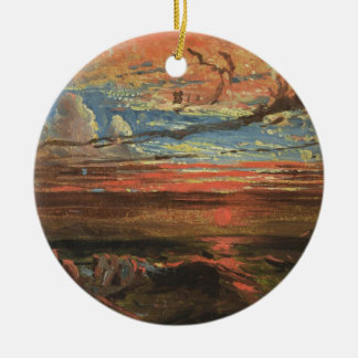 Sunset at Sea after a Storm (oil on pressed cardbo Round Ceramic Decoration