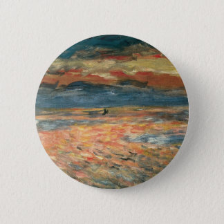 Sunset at Sea by Pierre Renoir, Vintage Fine Art 6 Cm Round Badge