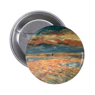Sunset at Sea by Renoir, Vintage Impressionism Art 6 Cm Round Badge