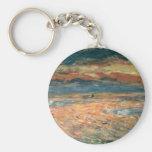 Sunset at Sea by Renoir, Vintage Impressionism Art Key Chain