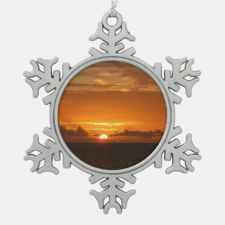 Sunset at Sea I Tropical Orange Seascape Snowflake Pewter Christmas Ornament