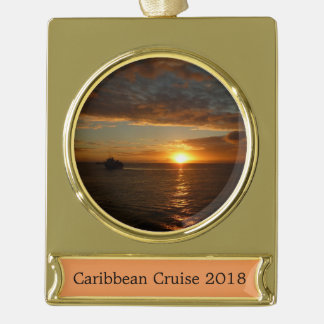 Sunset at Sea II Tropical Seascape Gold Plated Banner Ornament