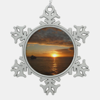 Sunset at Sea II Tropical Seascape Pewter Snowflake Decoration