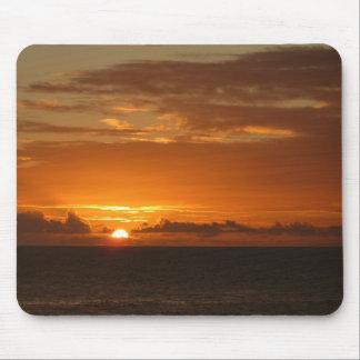 Sunset at Sea III Tropical Orange Seascape Mouse Pad