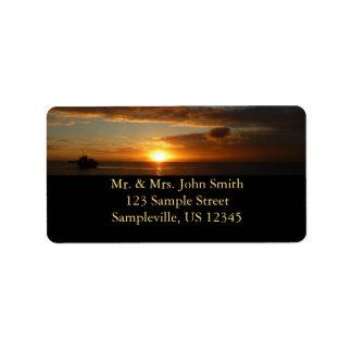 Sunset at Sea IV Tropical Seascape Address Label