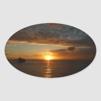 Sunset at Sea IV Tropical Seascape Oval Sticker