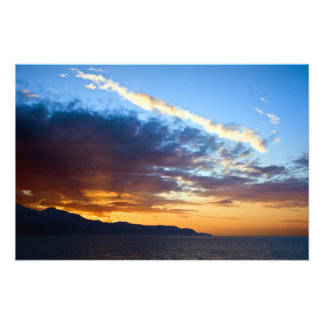 Sunset at Sea on Costa del Sol in Spain Art Photo
