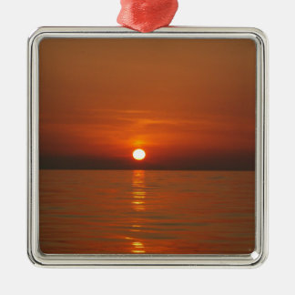 Sunset At Sea Silver-Colored Square Decoration