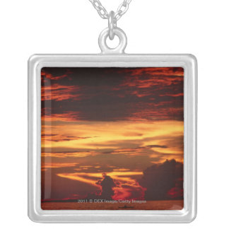 Sunset at sea silver plated necklace