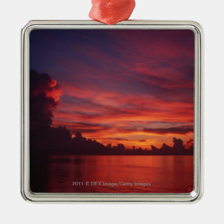 Sunset at sea with dark clouds Silver-Colored square decoration