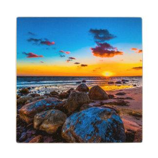 Sunset At Sea Wood Coaster