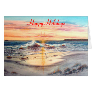 SUNSET AT SILVERSTRAND, CORONADO, CALIFORNIA GREETING CARD