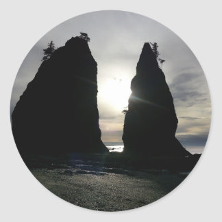 Sunset at Split rock Olympic National Park Round Sticker