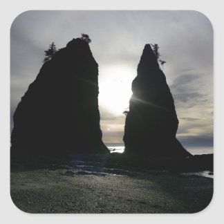 Sunset at Split rock Olympic National Park Square Sticker