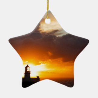 Sunset at Strumble Head Lighthouse Christmas Ornament