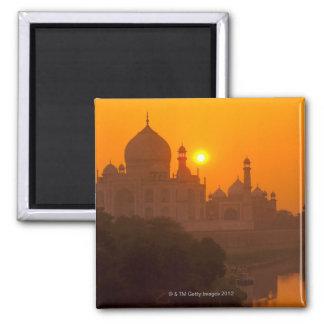 Sunset at Taj Mahal Square Magnet