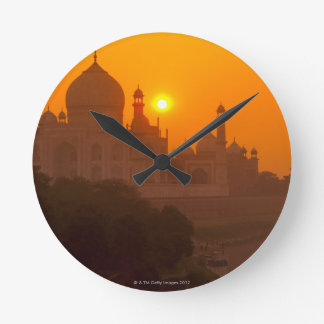 Sunset at Taj Mahal Round Clock