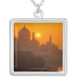 Sunset at Taj Mahal Silver Plated Necklace