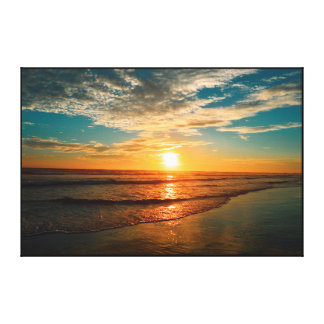 SUNSET AT THE BEACH, GOLDEN DELICIOUS SHORE CANVAS PRINT
