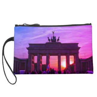 Sunset at the Brandenburg gate 001.2.F, Berlin Suede Wristlet