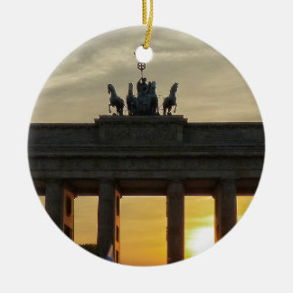 Sunset at the Brandenburg Gate, Berlin Round Ceramic Decoration