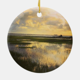 Sunset at the dock round ceramic decoration