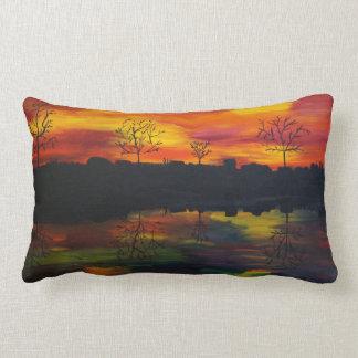 Sunset at the river lumbar cushion
