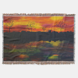 Sunset at the river throw blanket