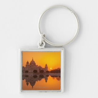 Sunset at the Victoria Memorial Silver-Colored Square Key Ring