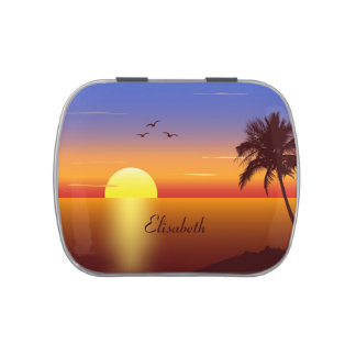 Sunset at tropical beach jelly belly tins