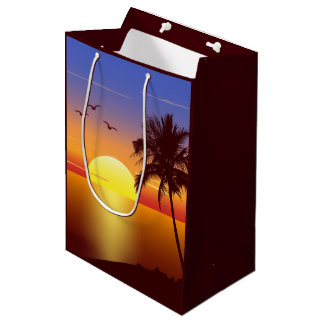 Sunset at tropical beach medium gift bag