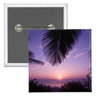 Sunset at West End, Cayman Brac, Cayman Islands, 15 Cm Square Badge