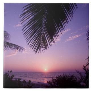 Sunset at West End, Cayman Brac, Cayman Islands, Large Square Tile
