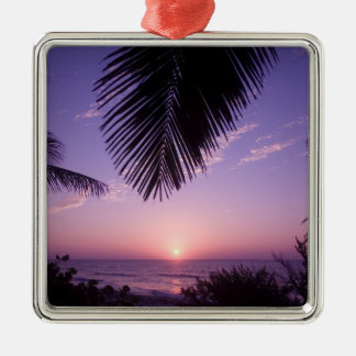 Sunset at West End, Cayman Brac, Cayman Islands, Silver-Colored Square Decoration