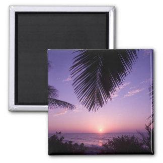 Sunset at West End, Cayman Brac, Cayman Islands, Square Magnet