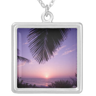 Sunset at West End, Cayman Brac, Cayman Islands, Square Pendant Necklace