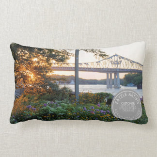 Sunset at Winona Minnesota Levee Lumbar Cushion
