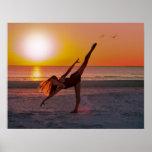 Sunset Ballet on the Beach Poster