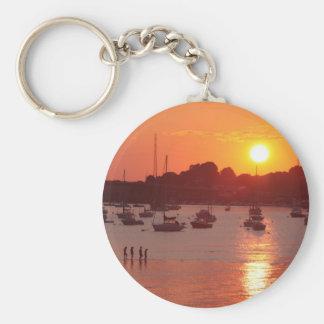 Sunset Basic Round Button Key Ring