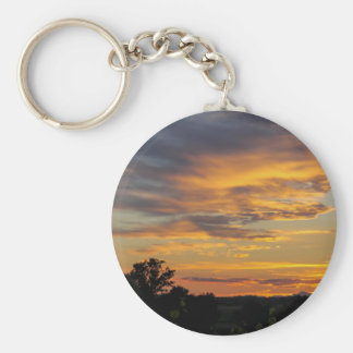 sunset basic round button key ring