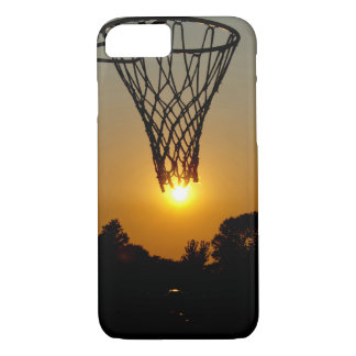 sunset basketball with hoop and net iPhone 8/7 case