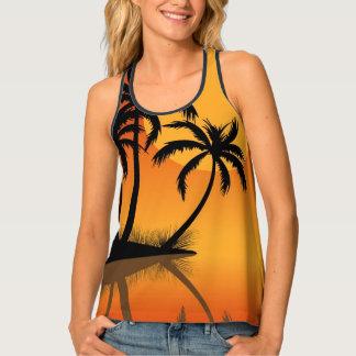Sunset beach black nack tank top