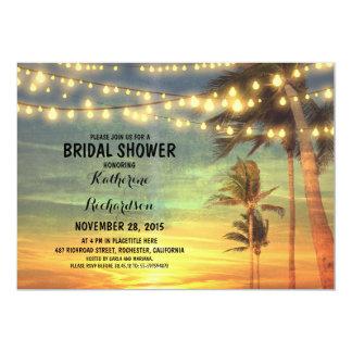 sunset beach bridal shower string lights 13 cm x 18 cm invitation card