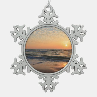 Sunset, Beach, & Clouds Pewter Snowflake Decoration