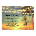 sunset beach engagement party string lights 13 cm x 18 cm invitation card