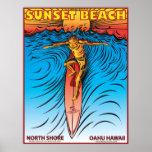 SUNSET BEACH HAWAII SURFBREAK SURFING POSTER