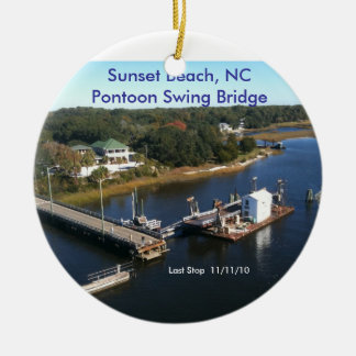 Sunset Beach, NC  Pontoon Swing Bridge... Christmas Ornament