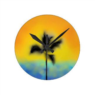 SUNSET BEACH PALM TREE WALL CLOCK PRINT